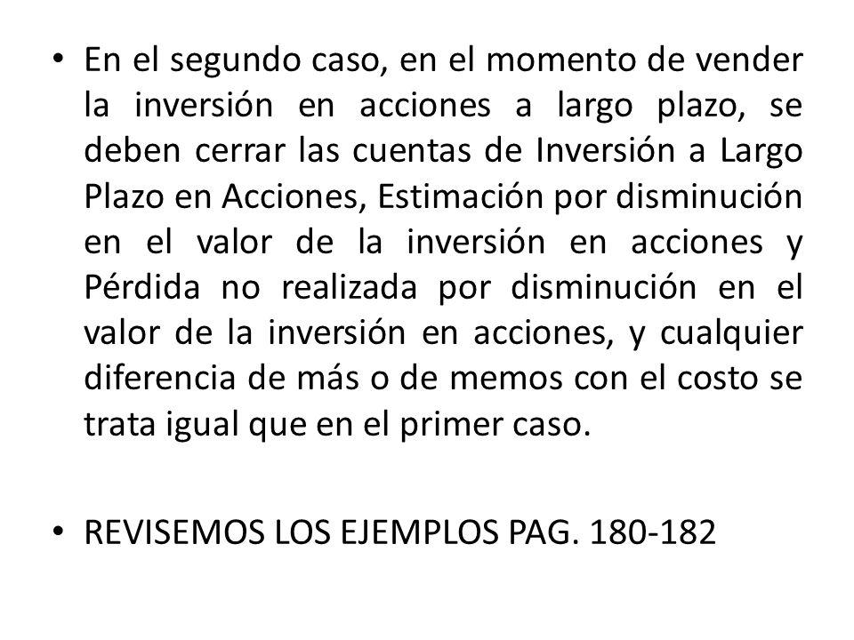 En el segundo caso, en el momento de vender la inversión en acciones a largo plazo, se deben cerrar las cuentas de Inversión a Largo Plazo en Acciones