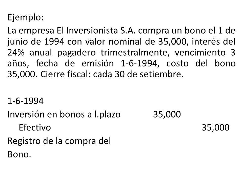 Ejemplo: La empresa El Inversionista S.A. compra un bono el 1 de junio de 1994 con valor nominal de 35,000, interés del 24% anual pagadero trimestralm