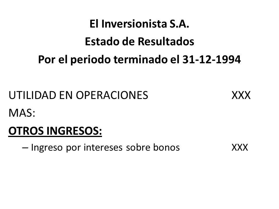 El Inversionista S.A. Estado de Resultados Por el periodo terminado el 31-12-1994 UTILIDAD EN OPERACIONESXXX MAS: OTROS INGRESOS: – Ingreso por intere