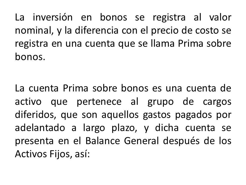 La inversión en bonos se registra al valor nominal, y la diferencia con el precio de costo se registra en una cuenta que se llama Prima sobre bonos. L