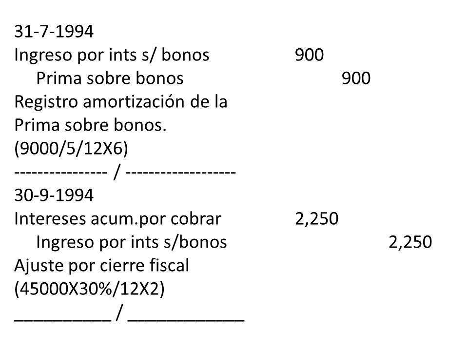 31-7-1994 Ingreso por ints s/ bonos900 Prima sobre bonos900 Registro amortización de la Prima sobre bonos. (9000/5/12X6) ---------------- / ----------