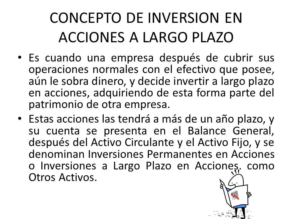 CONCEPTO DE INVERSION EN ACCIONES A LARGO PLAZO Es cuando una empresa después de cubrir sus operaciones normales con el efectivo que posee, aún le sob