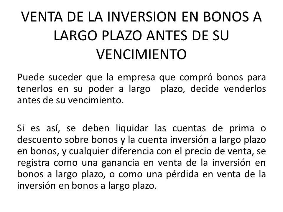 VENTA DE LA INVERSION EN BONOS A LARGO PLAZO ANTES DE SU VENCIMIENTO Puede suceder que la empresa que compró bonos para tenerlos en su poder a largo p