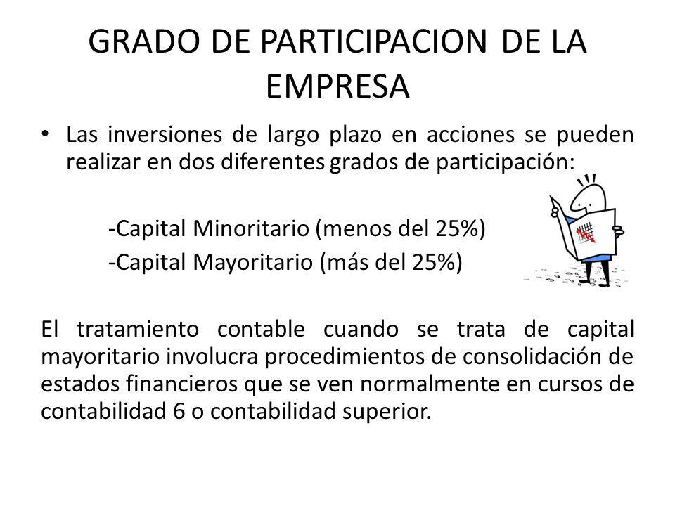 GRADO DE PARTICIPACION DE LA EMPRESA Las inversiones de largo plazo en acciones se pueden realizar en dos diferentes grados de participación: -Capital