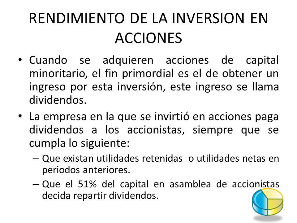 RENDIMIENTO DE LA INVERSION EN ACCIONES Cuando se adquieren acciones de capital minoritario, el fin primordial es el de obtener un ingreso por esta in