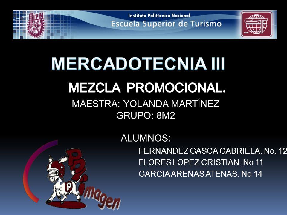 MAESTRA: YOLANDA MARTÍNEZ GRUPO: 8M2 ALUMNOS: FERNANDEZ GASCA GABRIELA.