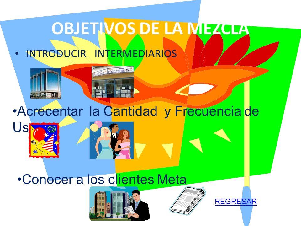 OBJETIVOS DE LA MEZCLA INTRODUCIR INTERMEDIARIOS Acrecentar la Cantidad y Frecuencia de Uso Conocer a los clientes Meta REGRESAR