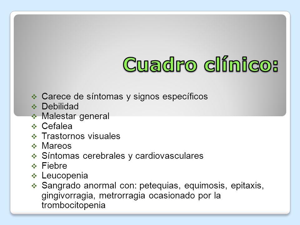 Carece de síntomas y signos específicos Debilidad Malestar general Cefalea Trastornos visuales Mareos Síntomas cerebrales y cardiovasculares Fiebre Le