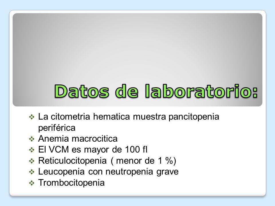 La citometria hematica muestra pancitopenia periférica Anemia macrocitica El VCM es mayor de 100 fl Reticulocitopenia ( menor de 1 %) Leucopenia con n