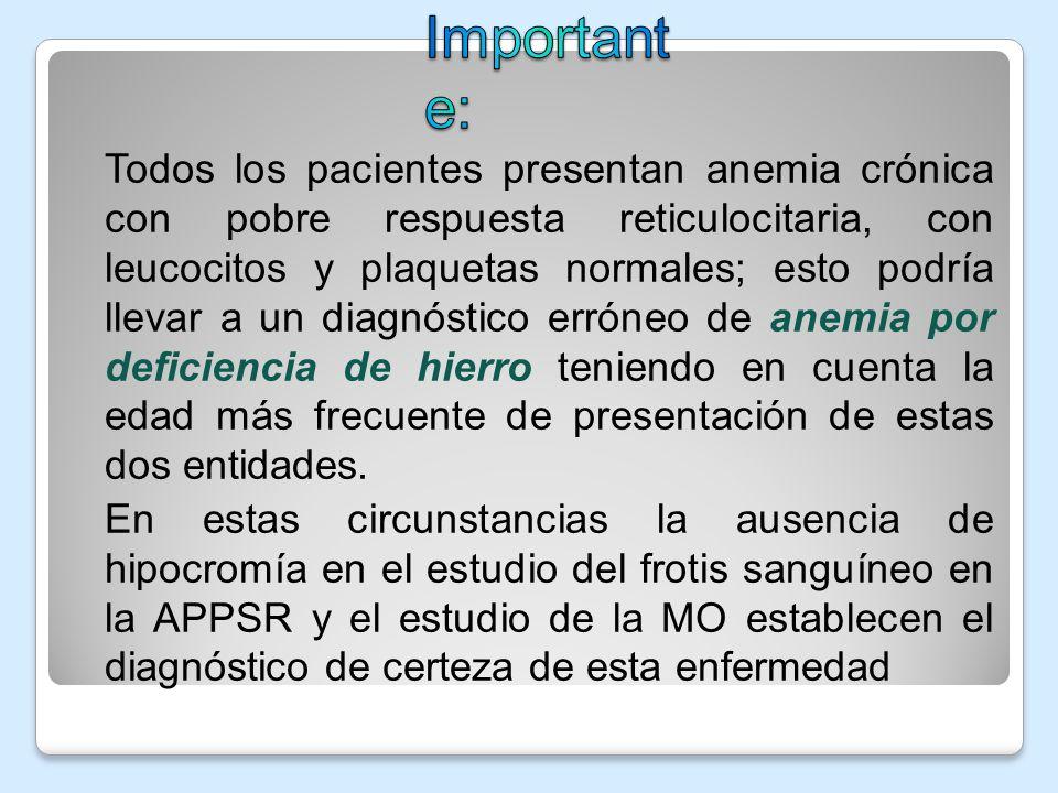 Todos los pacientes presentan anemia crónica con pobre respuesta reticulocitaria, con leucocitos y plaquetas normales; esto podría llevar a un diagnós