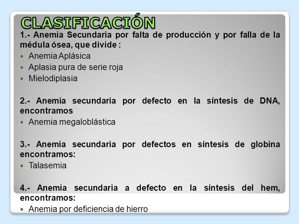 1.- Anemia Secundaria por falta de producción y por falla de la médula ósea, que divide : Anemia Aplásica Aplasia pura de serie roja Mielodiplasia 2.-