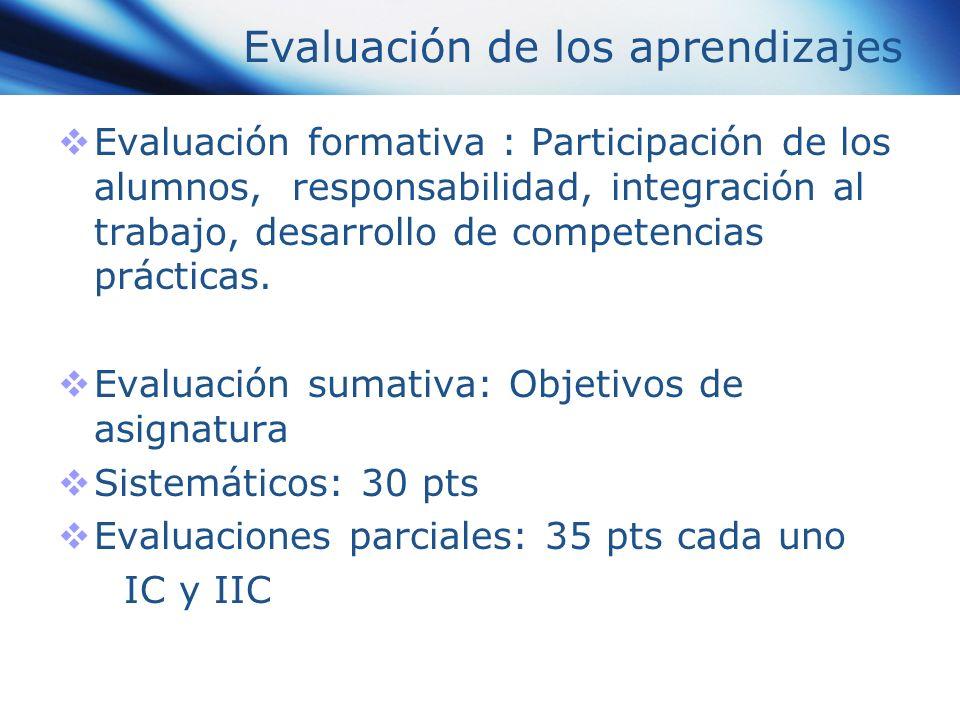 Evaluación de los aprendizajes Evaluación formativa : Participación de los alumnos, responsabilidad, integración al trabajo, desarrollo de competencia