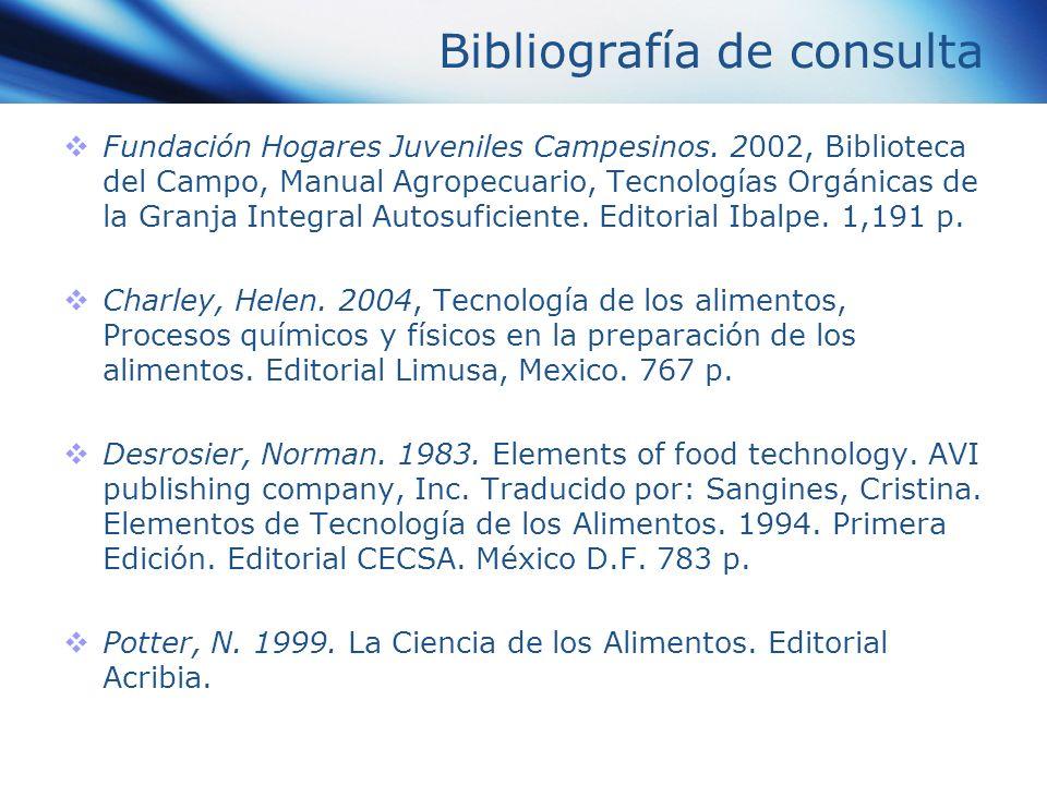 Bibliografía de consulta Fundación Hogares Juveniles Campesinos. 2002, Biblioteca del Campo, Manual Agropecuario, Tecnologías Orgánicas de la Granja I