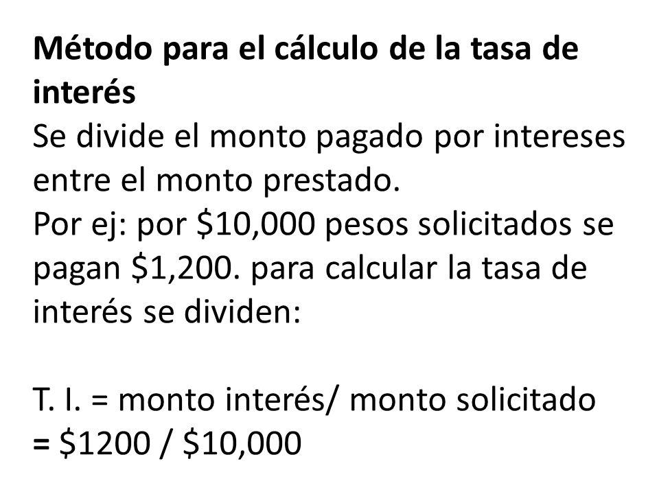 Método para el cálculo de la tasa de interés Se divide el monto pagado por intereses entre el monto prestado.