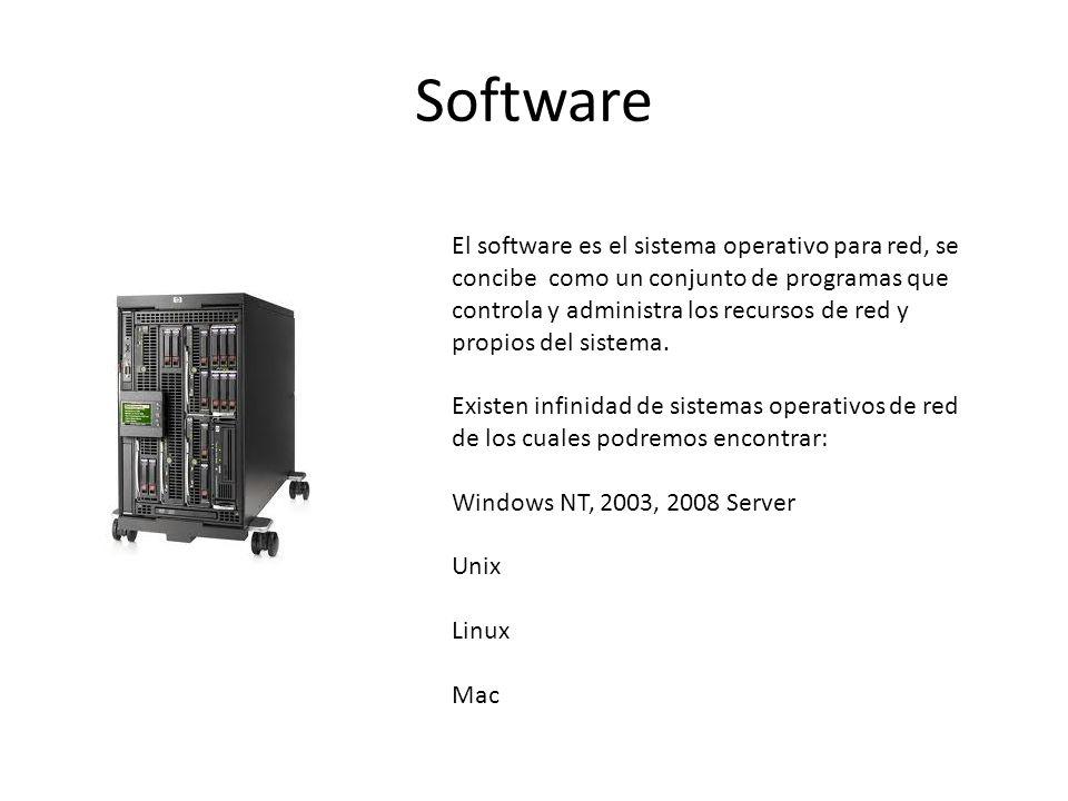Software El software es el sistema operativo para red, se concibe como un conjunto de programas que controla y administra los recursos de red y propio