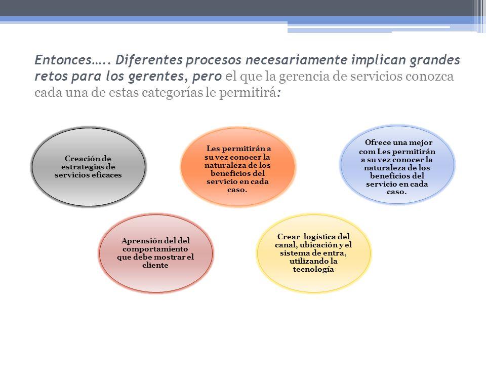 Entonces….. Diferentes procesos necesariamente implican grandes retos para los gerentes, pero e l que la gerencia de servicios conozca cada una de est