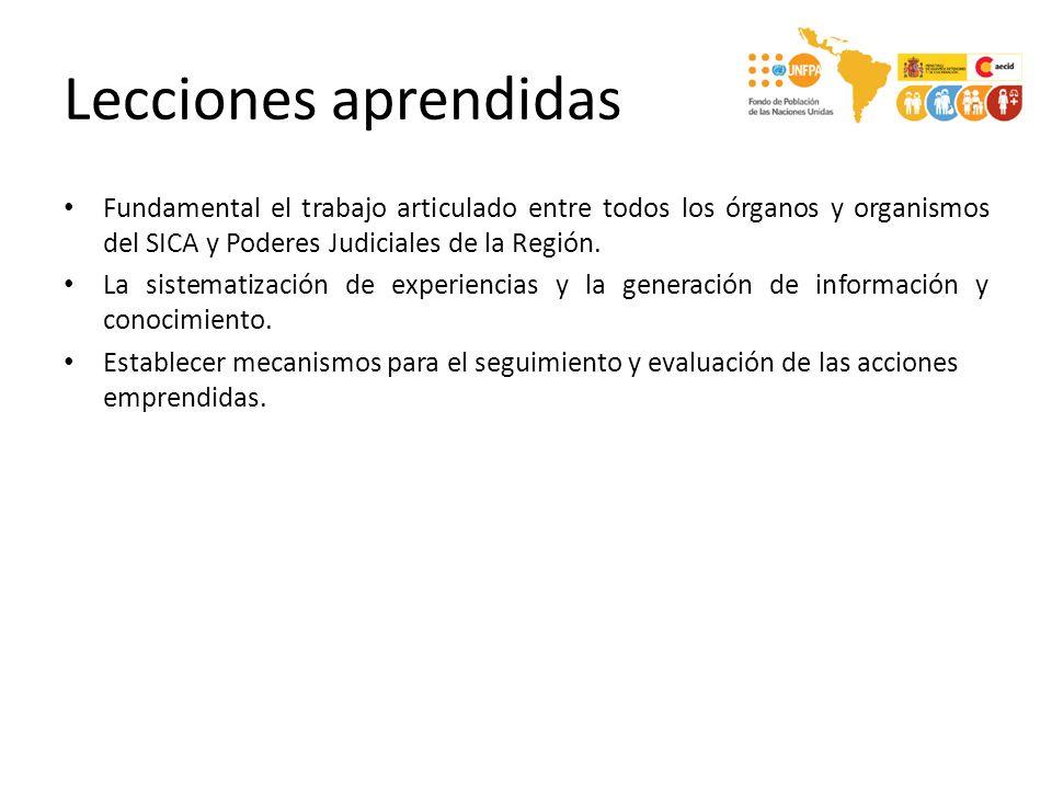 Lecciones aprendidas Fundamental el trabajo articulado entre todos los órganos y organismos del SICA y Poderes Judiciales de la Región.