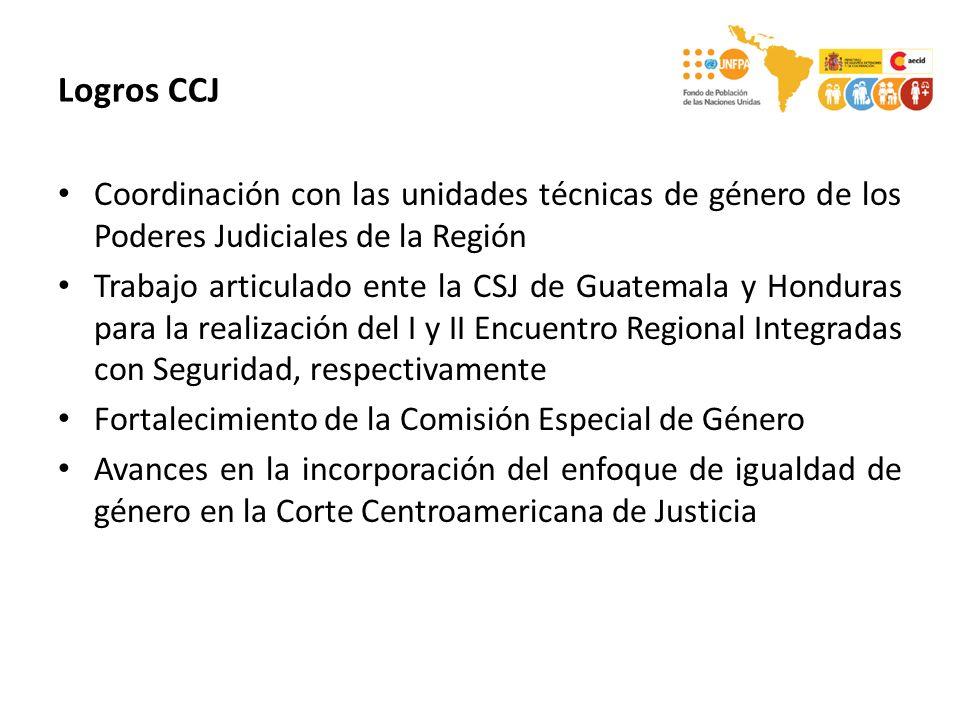 Logros CCJ Coordinación con las unidades técnicas de género de los Poderes Judiciales de la Región Trabajo articulado ente la CSJ de Guatemala y Honduras para la realización del I y II Encuentro Regional Integradas con Seguridad, respectivamente Fortalecimiento de la Comisión Especial de Género Avances en la incorporación del enfoque de igualdad de género en la Corte Centroamericana de Justicia