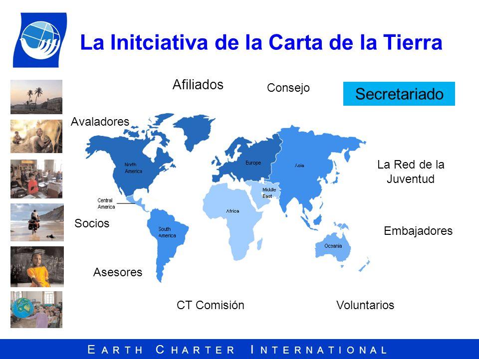 E A R T H C H A R T E R I N T E R N A T I O N A L La Initciativa de la Carta de la Tierra Afiliados Socios Asesores CT Comisión Avaladores La Red de l