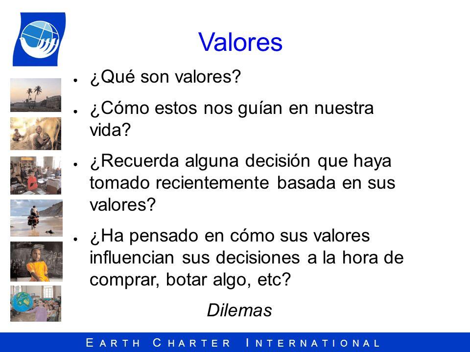 E A R T H C H A R T E R I N T E R N A T I O N A L Valores ¿Qué son valores? ¿Cómo estos nos guían en nuestra vida? ¿Recuerda alguna decisión que haya