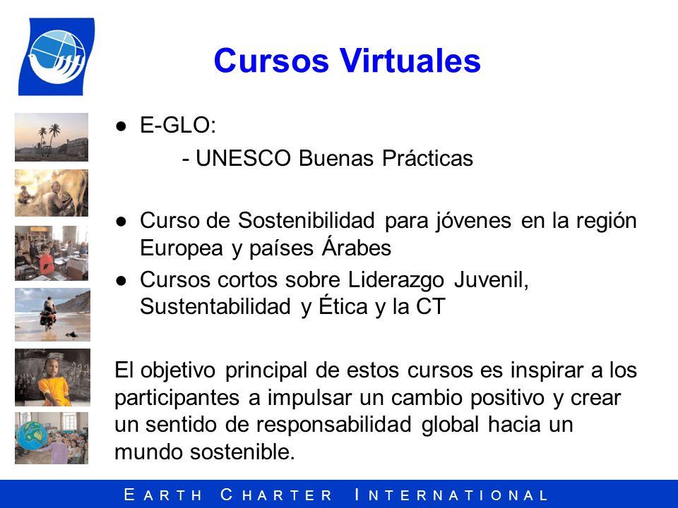 E A R T H C H A R T E R I N T E R N A T I O N A L Cursos Virtuales E-GLO: - UNESCO Buenas Prácticas Curso de Sostenibilidad para jóvenes en la región