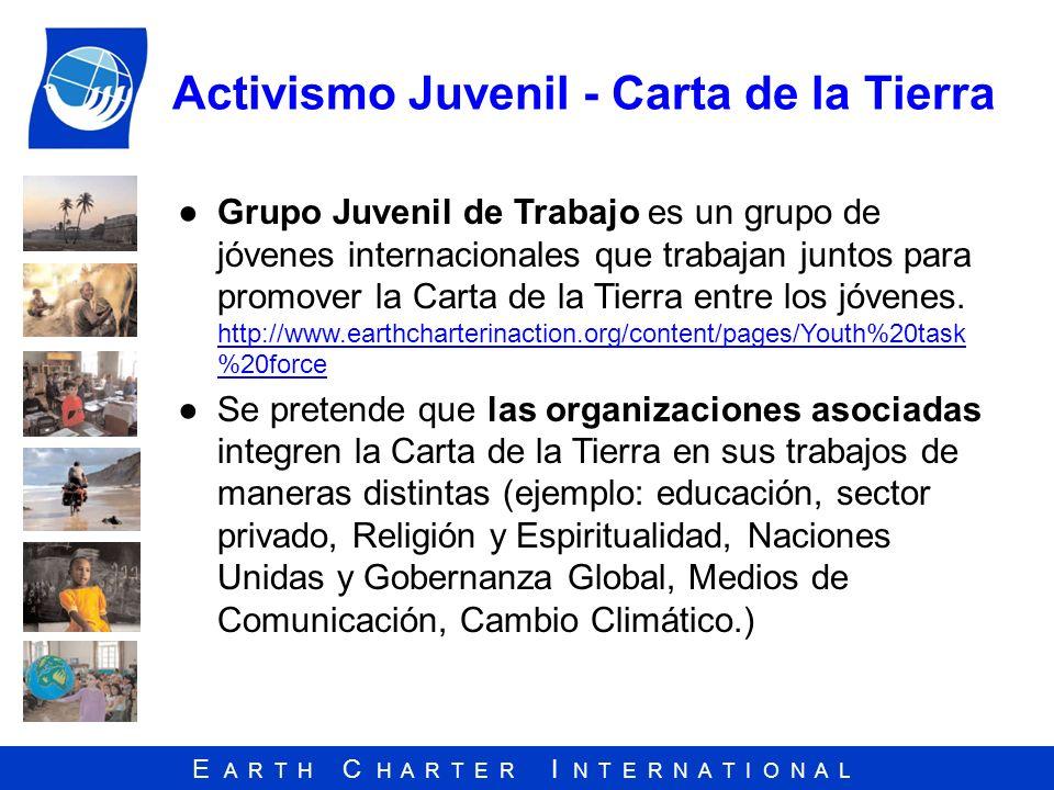 E A R T H C H A R T E R I N T E R N A T I O N A L Activismo Juvenil - Carta de la Tierra Grupo Juvenil de Trabajo es un grupo de jóvenes internacional