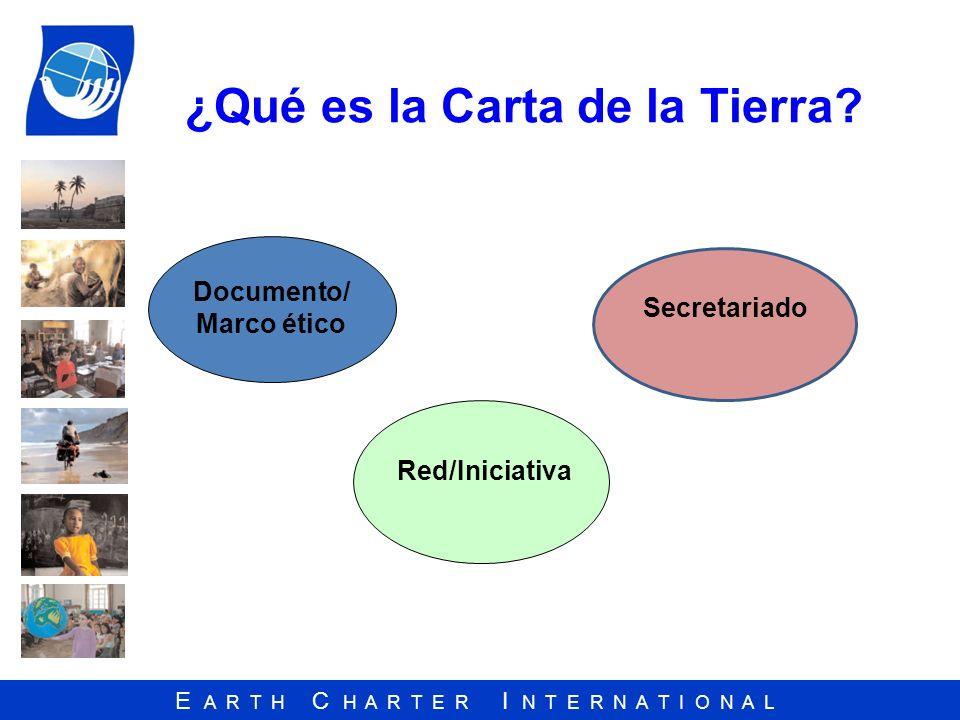 E A R T H C H A R T E R I N T E R N A T I O N A L ¿Qué es la Carta de la Tierra? Red/Iniciativa Documento/ Marco ético Secretariado