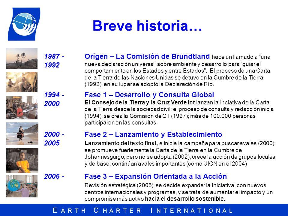 E A R T H C H A R T E R I N T E R N A T I O N A L Breve historia… 1987 - 1992 Orígen – La Comisión de Brundtland hace un llamado a una nueva declaraci