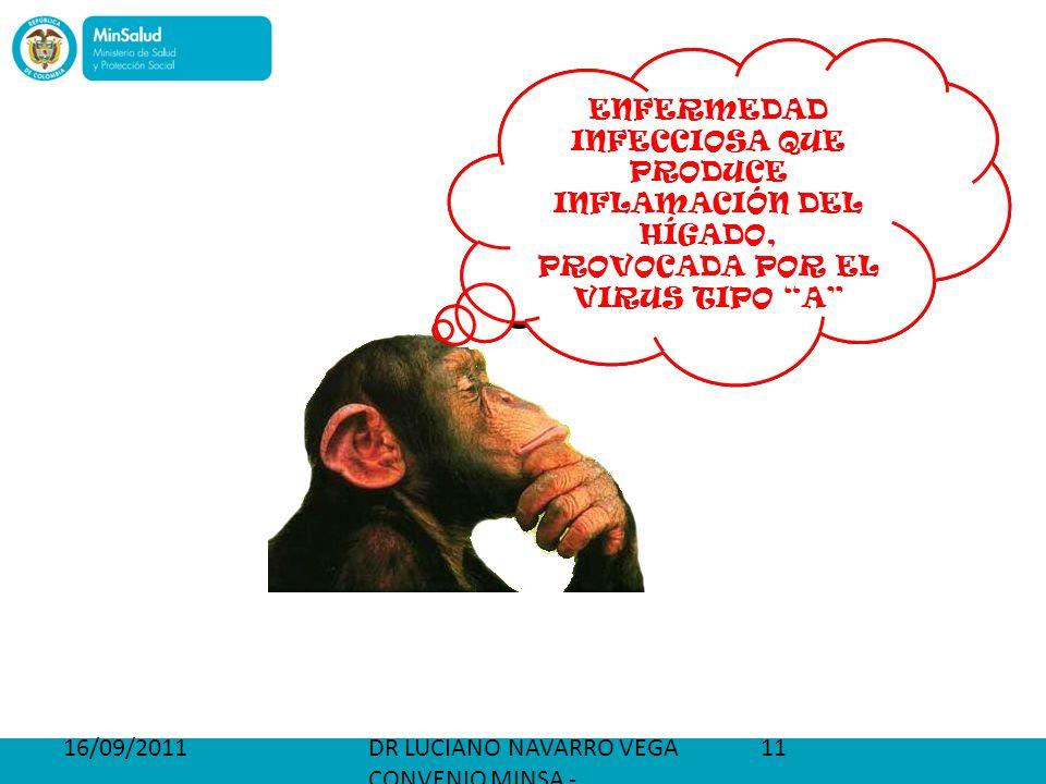 16/09/2011DR LUCIANO NAVARRO VEGA CONVENIO MINSA - PETROBRAS 11 ¿ QUÉ ES LA HEPATITIS A ? ENFERMEDAD INFECCIOSA QUE PRODUCE INFLAMACIÓN DEL HÍGADO, PR