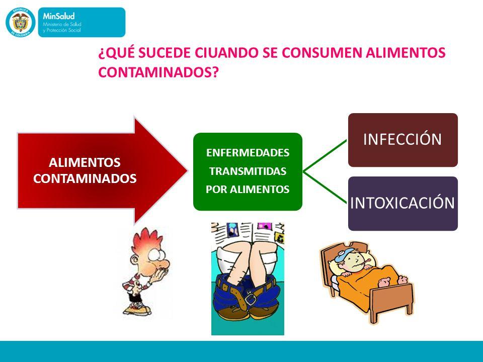 ¿QUÉ SUCEDE CIUANDO SE CONSUMEN ALIMENTOS CONTAMINADOS? ENFERMEDADES TRANSMITIDAS POR ALIMENTOS INFECCIÓNINTOXICACIÓN ALIMENTOS CONTAMINADOS