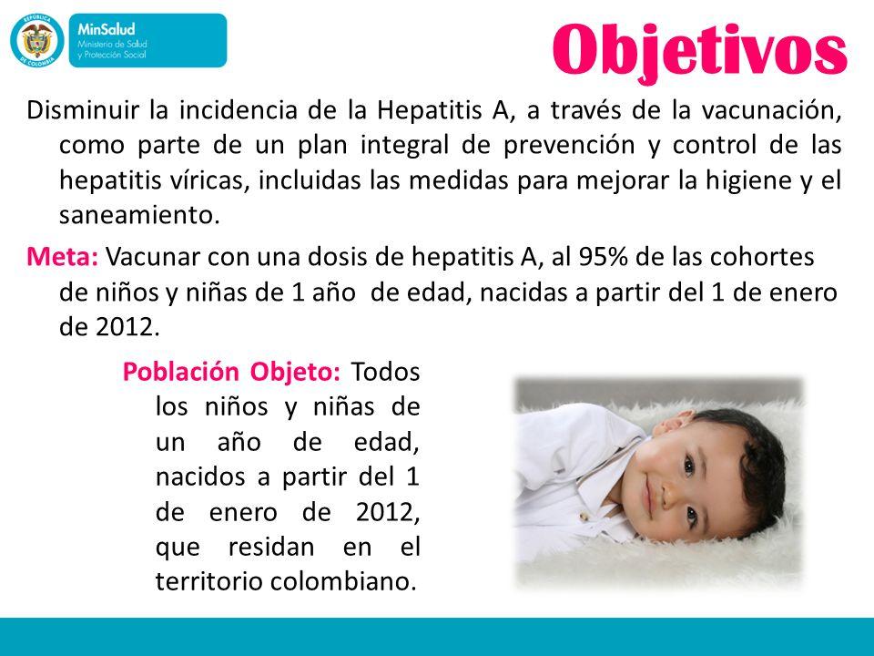 Objetivos Disminuir la incidencia de la Hepatitis A, a través de la vacunación, como parte de un plan integral de prevención y control de las hepatiti