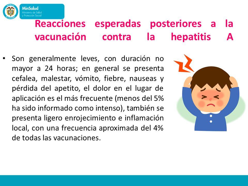 Reacciones esperadas posteriores a la vacunación contra la hepatitis A Son generalmente leves, con duración no mayor a 24 horas; en general se present
