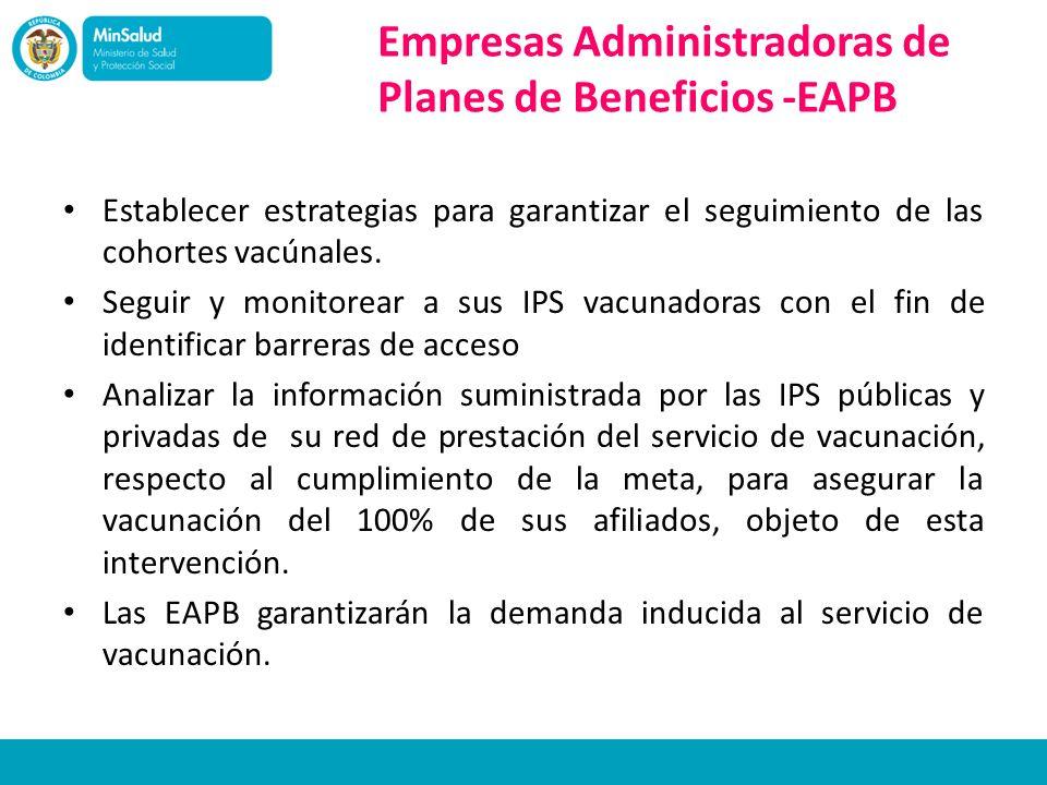 Empresas Administradoras de Planes de Beneficios -EAPB Establecer estrategias para garantizar el seguimiento de las cohortes vacúnales. Seguir y monit