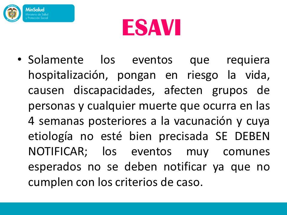 ESAVI Solamente los eventos que requiera hospitalización, pongan en riesgo la vida, causen discapacidades, afecten grupos de personas y cualquier muer