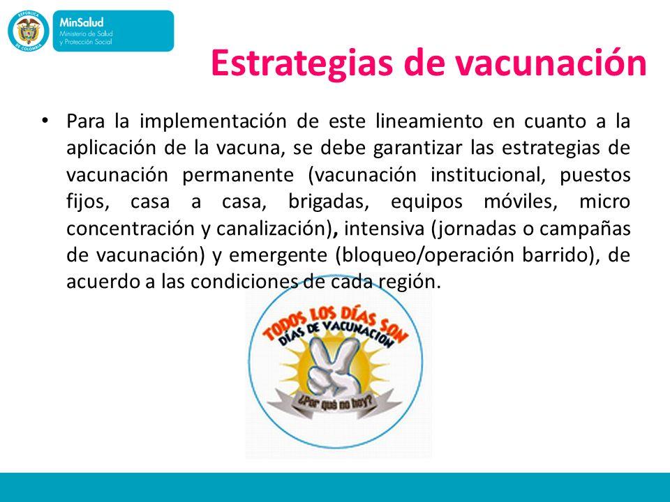 Estrategias de vacunación Para la implementación de este lineamiento en cuanto a la aplicación de la vacuna, se debe garantizar las estrategias de vac