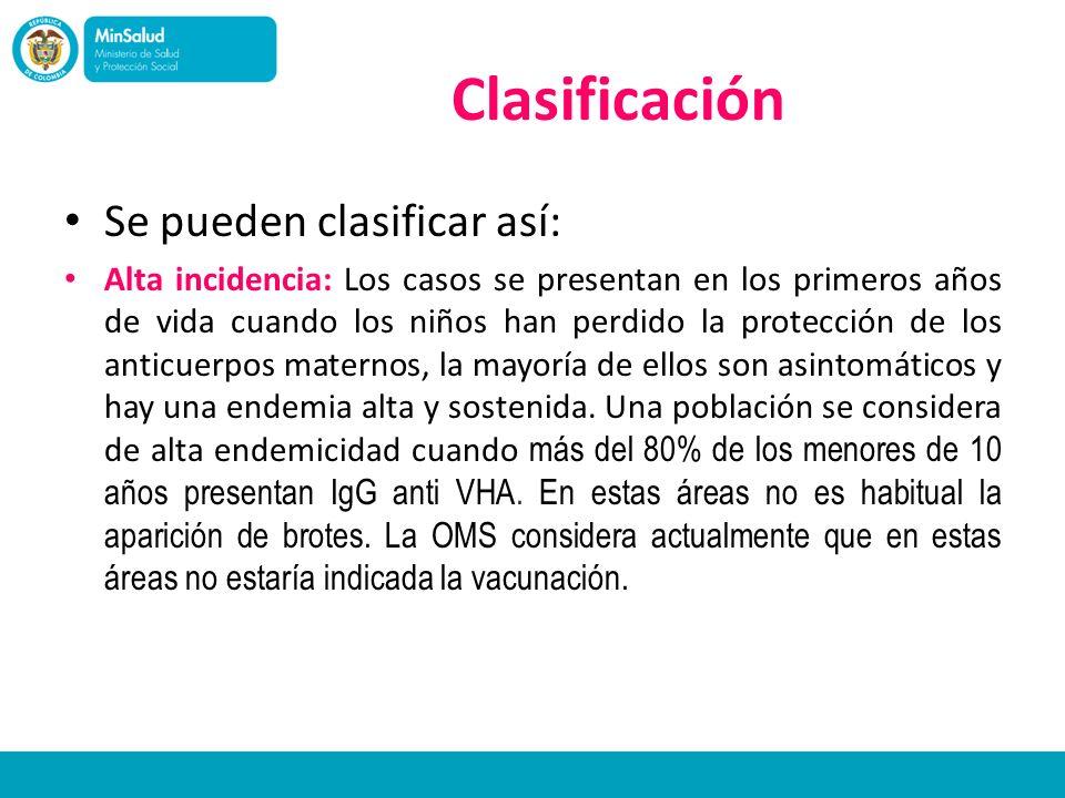 Clasificación Se pueden clasificar así: Alta incidencia: Los casos se presentan en los primeros años de vida cuando los niños han perdido la protecció