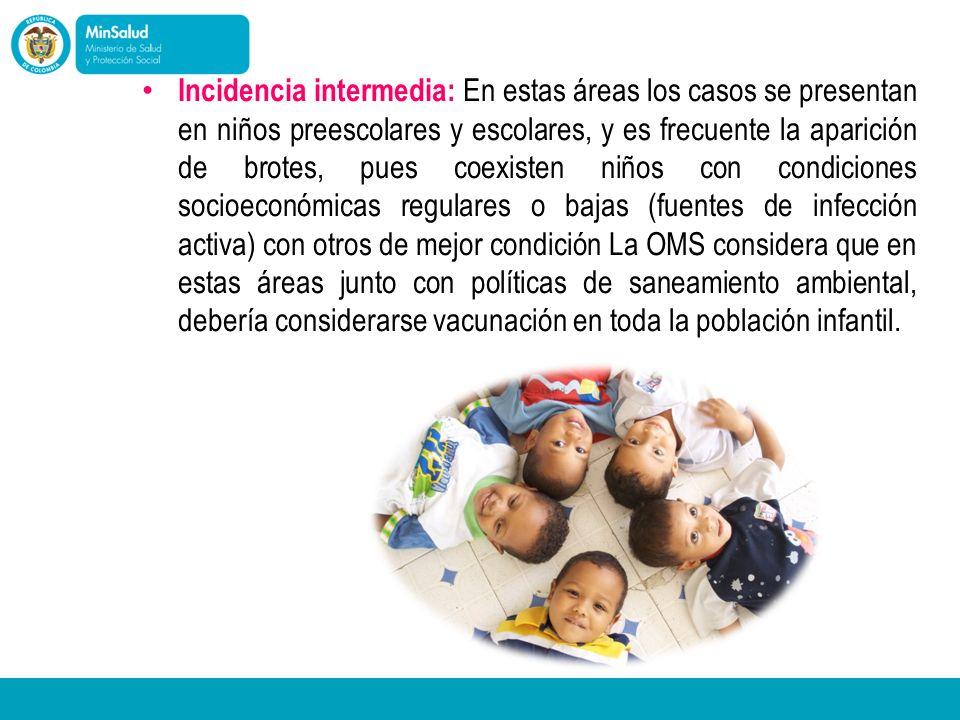 Incidencia intermedia: En estas áreas los casos se presentan en niños preescolares y escolares, y es frecuente la aparición de brotes, pues coexisten