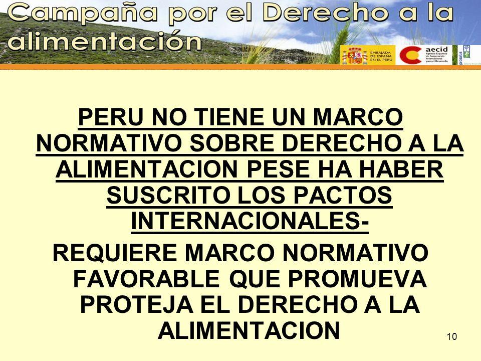 PERU NO TIENE UN MARCO NORMATIVO SOBRE DERECHO A LA ALIMENTACION PESE HA HABER SUSCRITO LOS PACTOS INTERNACIONALES- REQUIERE MARCO NORMATIVO FAVORABLE