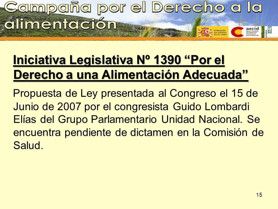 Iniciativa Legislativa Nº 1390 Por el Derecho a una Alimentación Adecuada Propuesta de Ley presentada al Congreso el 15 de Junio de 2007 por el congre