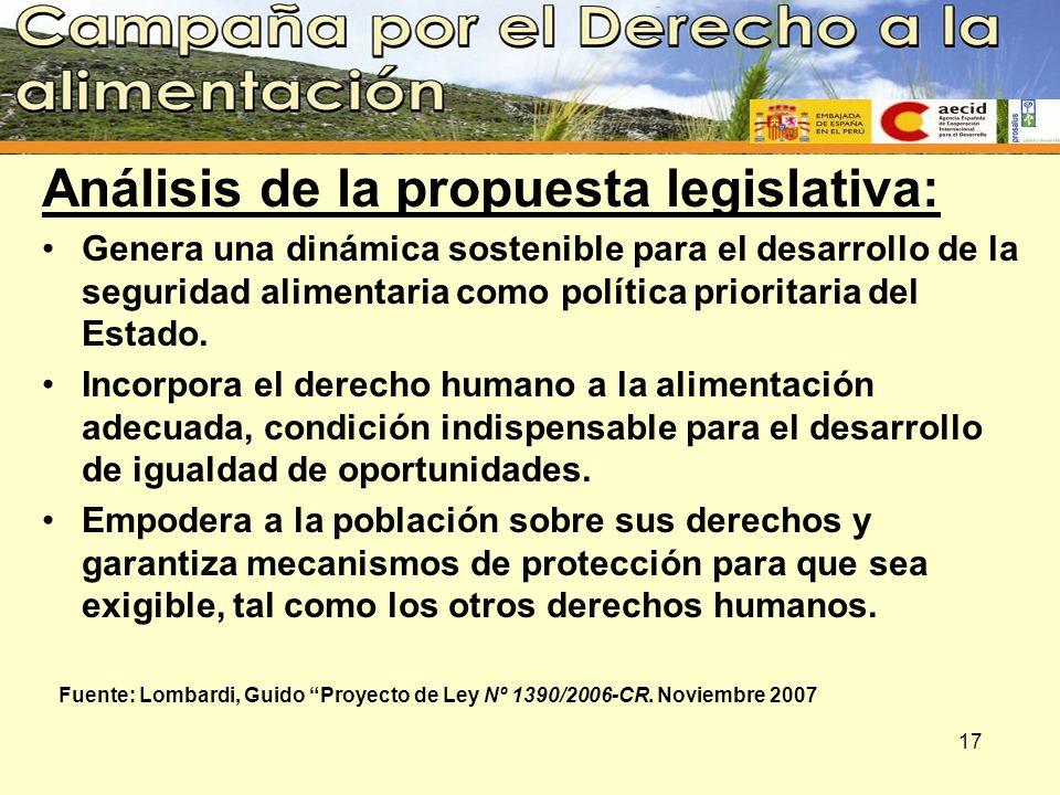 Análisis de la propuesta legislativa: Genera una dinámica sostenible para el desarrollo de la seguridad alimentaria como política prioritaria del Esta