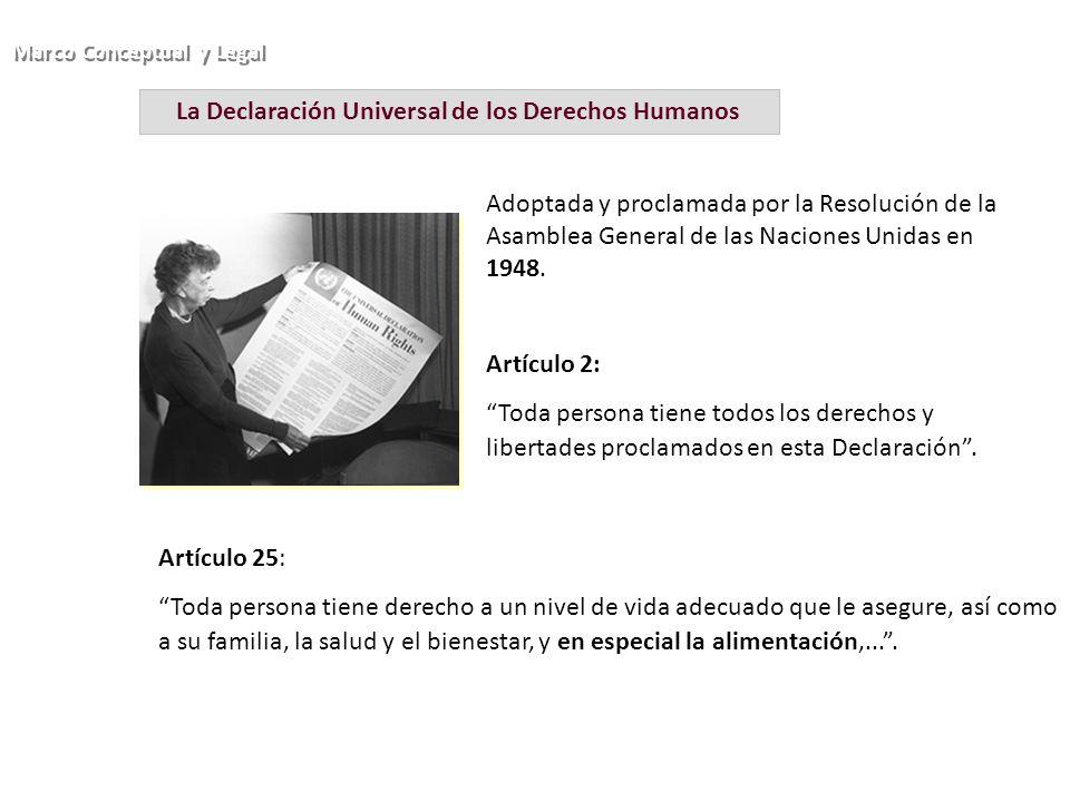 La Declaración Universal de los Derechos Humanos Adoptada y proclamada por la Resolución de la Asamblea General de las Naciones Unidas en 1948. Artícu