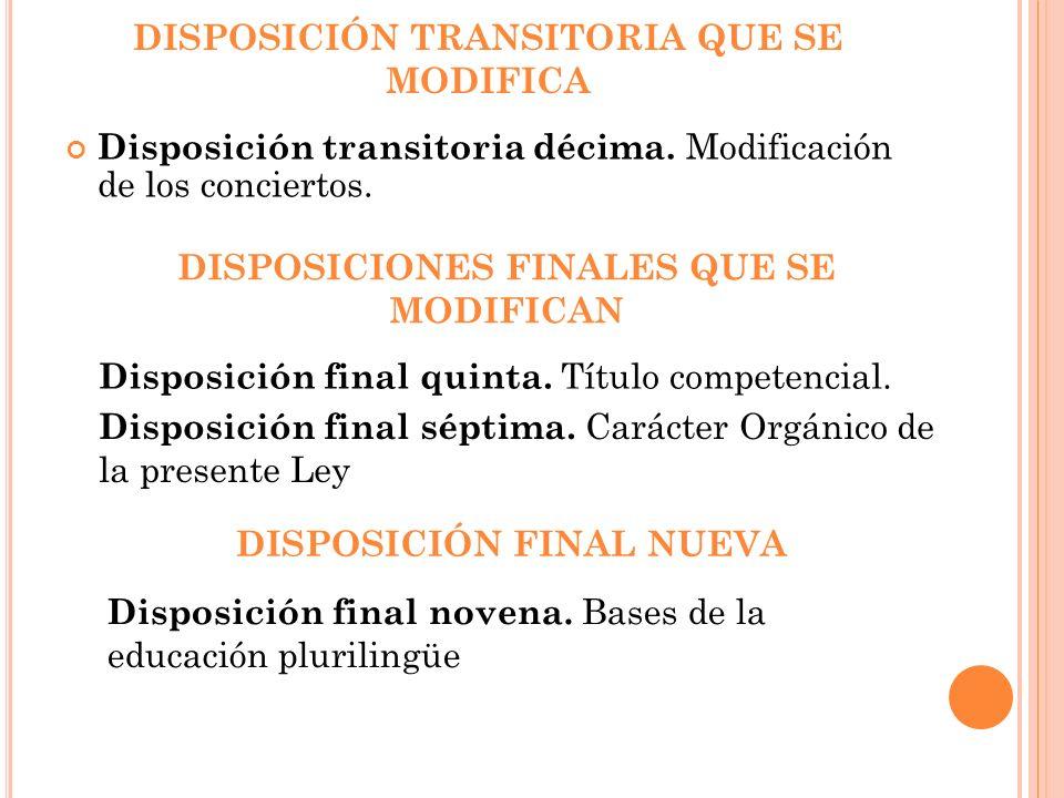 DISPOSICIÓN TRANSITORIA QUE SE MODIFICA Disposición transitoria décima. Modificación de los conciertos. DISPOSICIONES FINALES QUE SE MODIFICAN Disposi