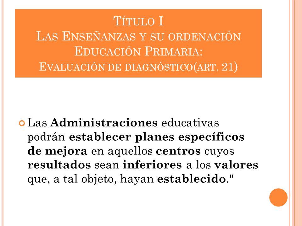 T ÍTULO I L AS E NSEÑANZAS Y SU ORDENACIÓN E DUCACIÓN P RIMARIA : E VALUACIÓN DE DIAGNÓSTICO ( ART. 21 ) Las Administraciones educativas podrán establ