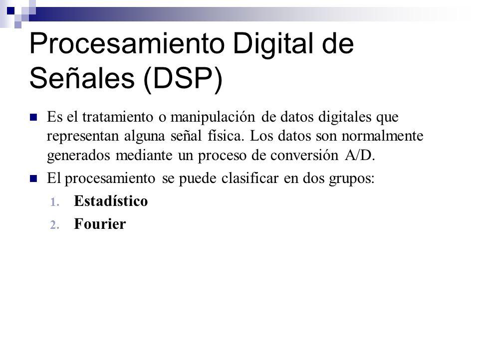 Procesamiento Digital de Señales (DSP) Es el tratamiento o manipulación de datos digitales que representan alguna señal física. Los datos son normalme