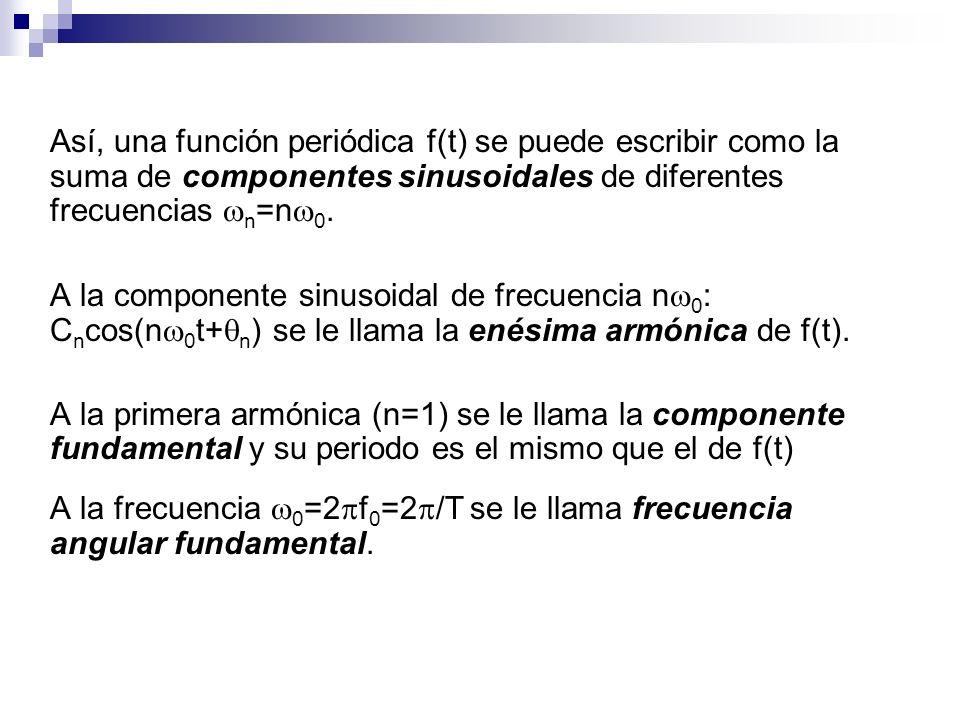 Así, una función periódica f(t) se puede escribir como la suma de componentes sinusoidales de diferentes frecuencias n =n 0. A la componente sinusoida