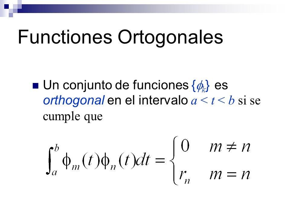Functiones Ortogonales Un conjunto de funciones { k } es orthogonal en el intervalo a < t < b si se cumple que