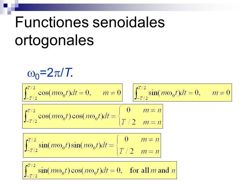 Functiones senoidales ortogonales 0 =2 /T.