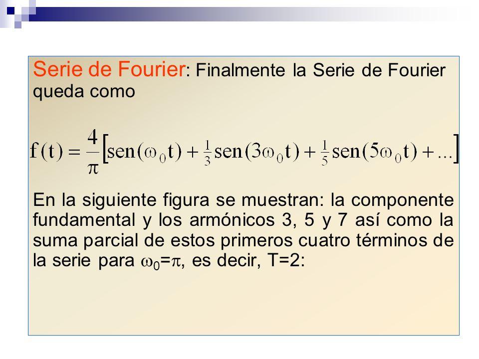 Serie de Fourier : Finalmente la Serie de Fourier queda como En la siguiente figura se muestran: la componente fundamental y los armónicos 3, 5 y 7 as