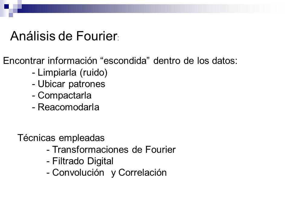 Análisis de Fourier : Encontrar información escondida dentro de los datos: - Limpiarla (ruido) - Ubicar patrones - Compactarla - Reacomodarla Técnicas