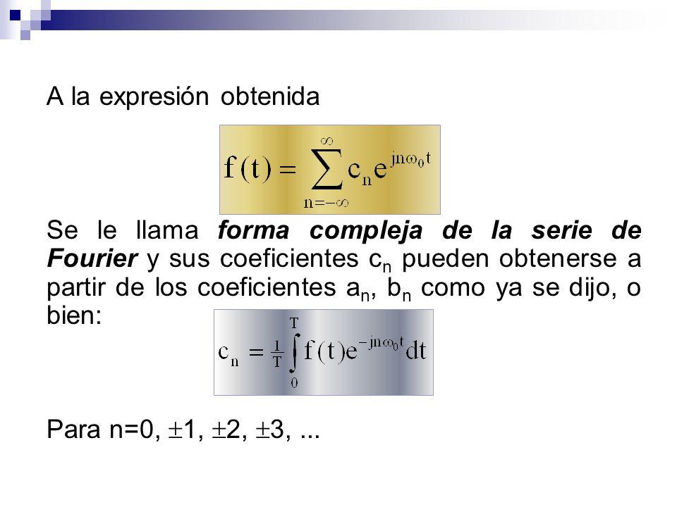 A la expresión obtenida Se le llama forma compleja de la serie de Fourier y sus coeficientes c n pueden obtenerse a partir de los coeficientes a n, b